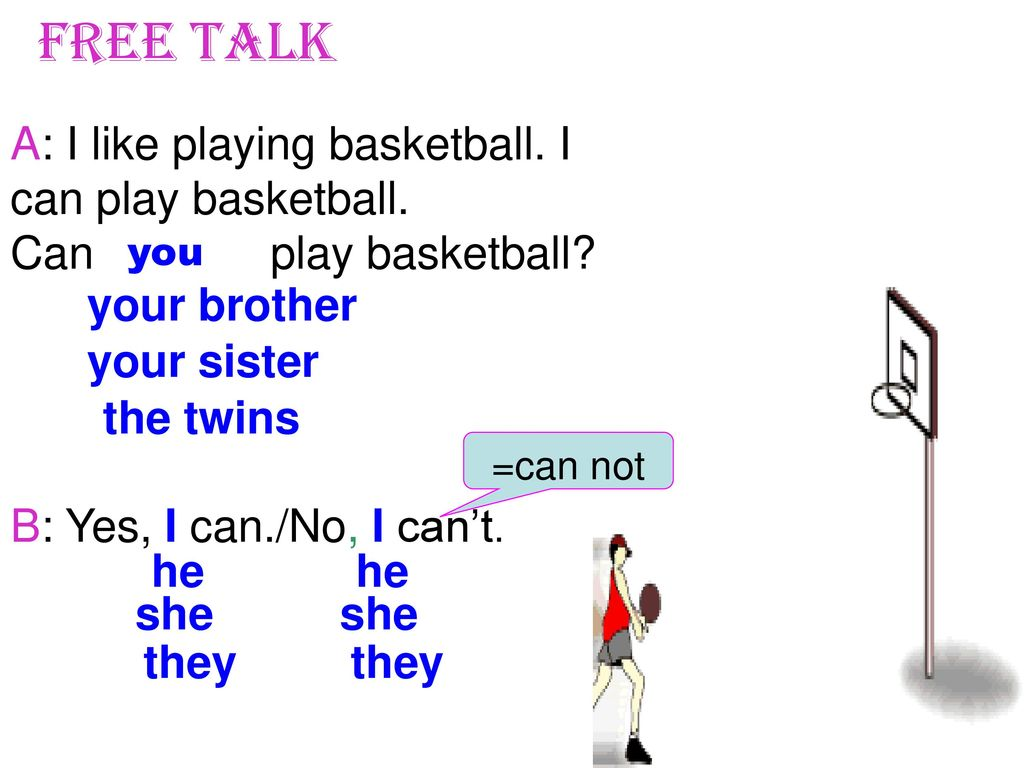 Free talk A: I like playing basketball. I can play basketball.