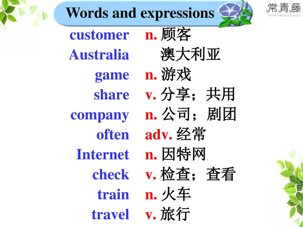 Words and expressions customer. Australia. game. share. company. often. Internet. check. train.
