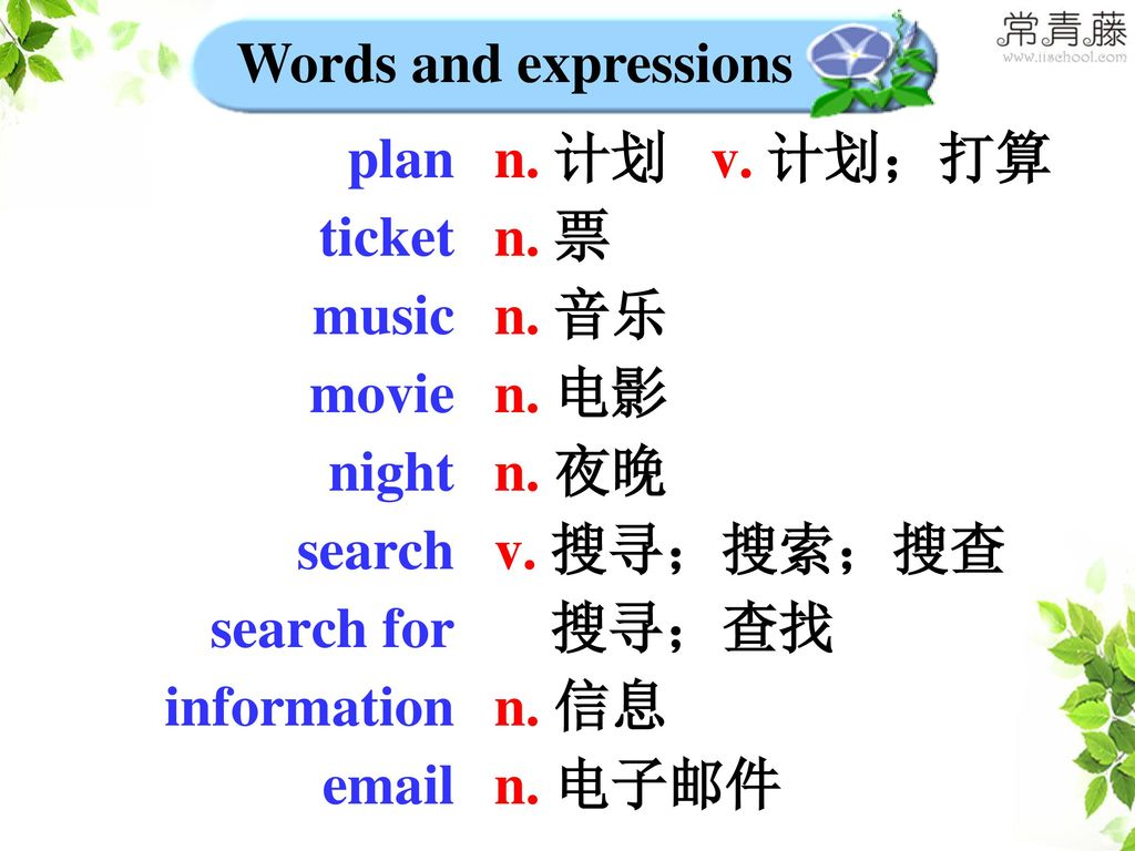Words and expressions plan. ticket. music. movie. night. search. search for. information.  .