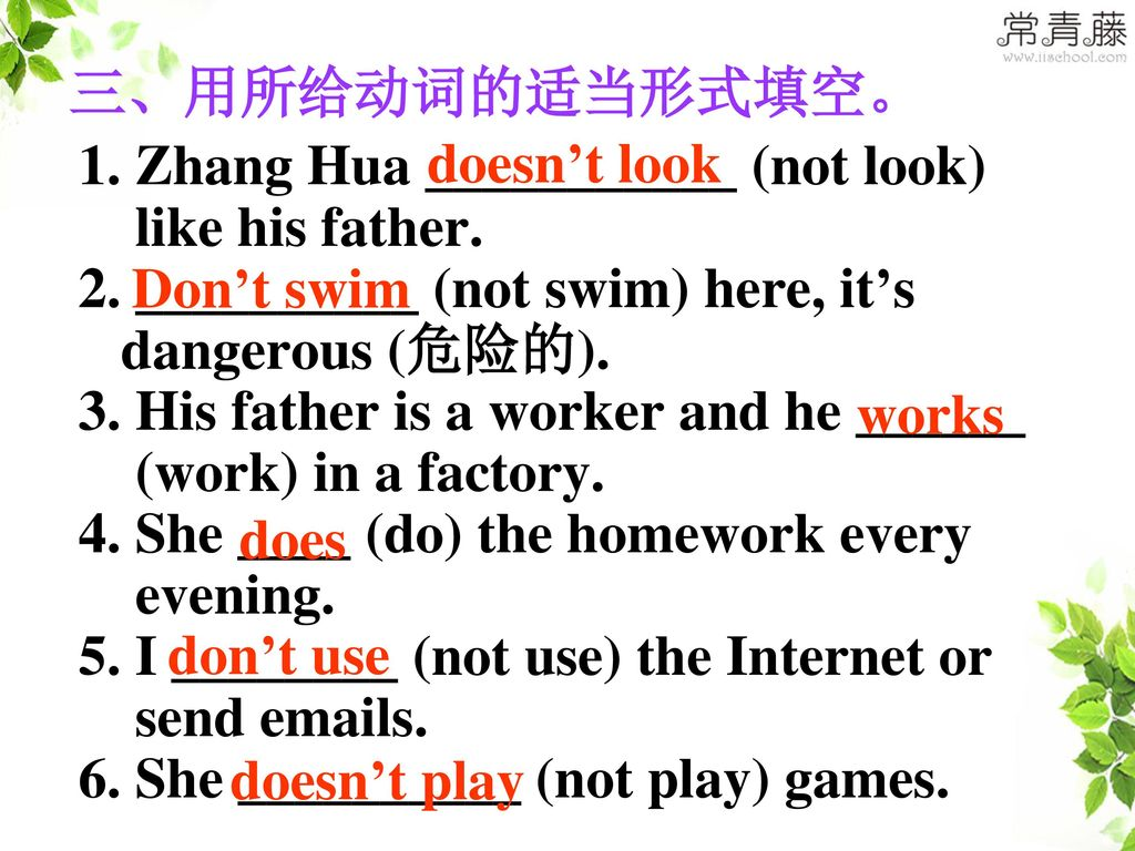 三、用所给动词的适当形式填空。 doesn't look. 1. Zhang Hua ___________ (not look) like his father. 2. __________ (not swim) here, it's.
