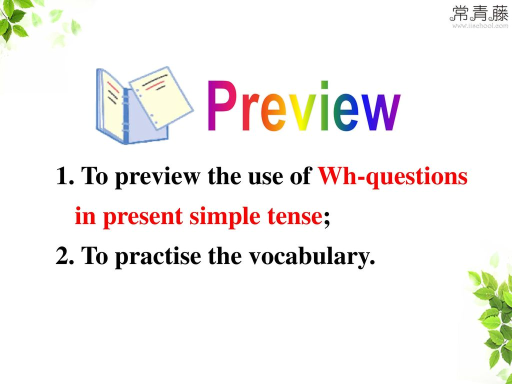 Preview To preview the use of Wh-questions in present simple tense; 2. To practise the vocabulary.