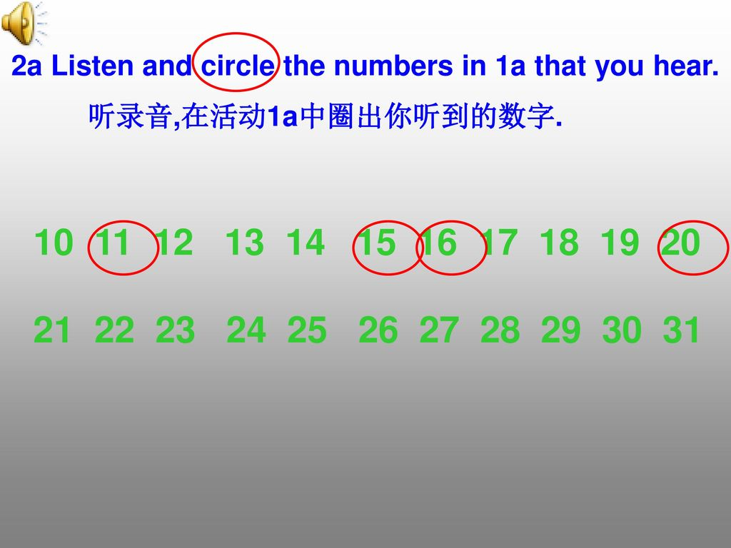 2a Listen and circle the numbers in 1a that you hear.
