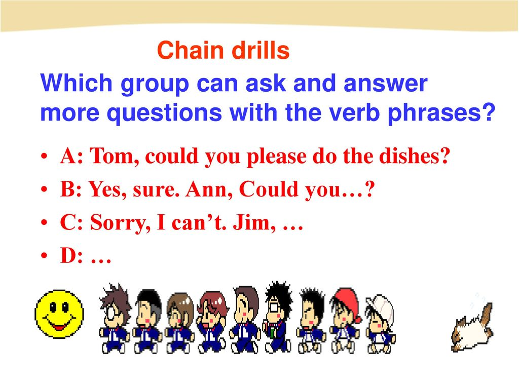 Which group can ask and answer more questions with the verb phrases