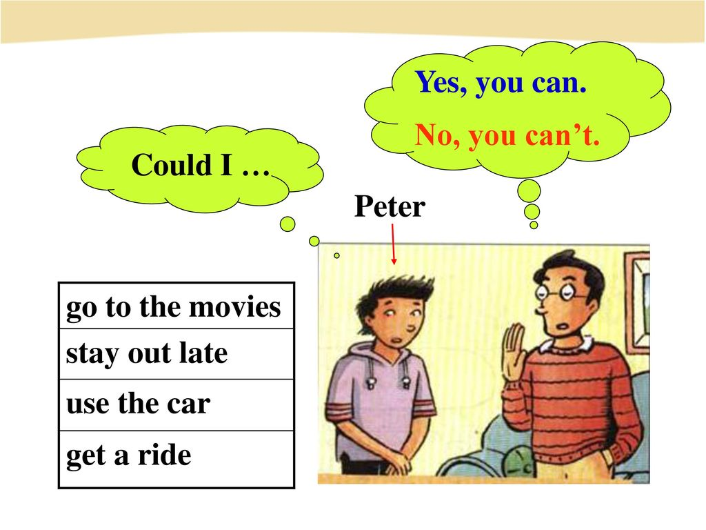 Yes, you can. No, you can't. Could I … Peter go to the movies stay out late use the car get a ride