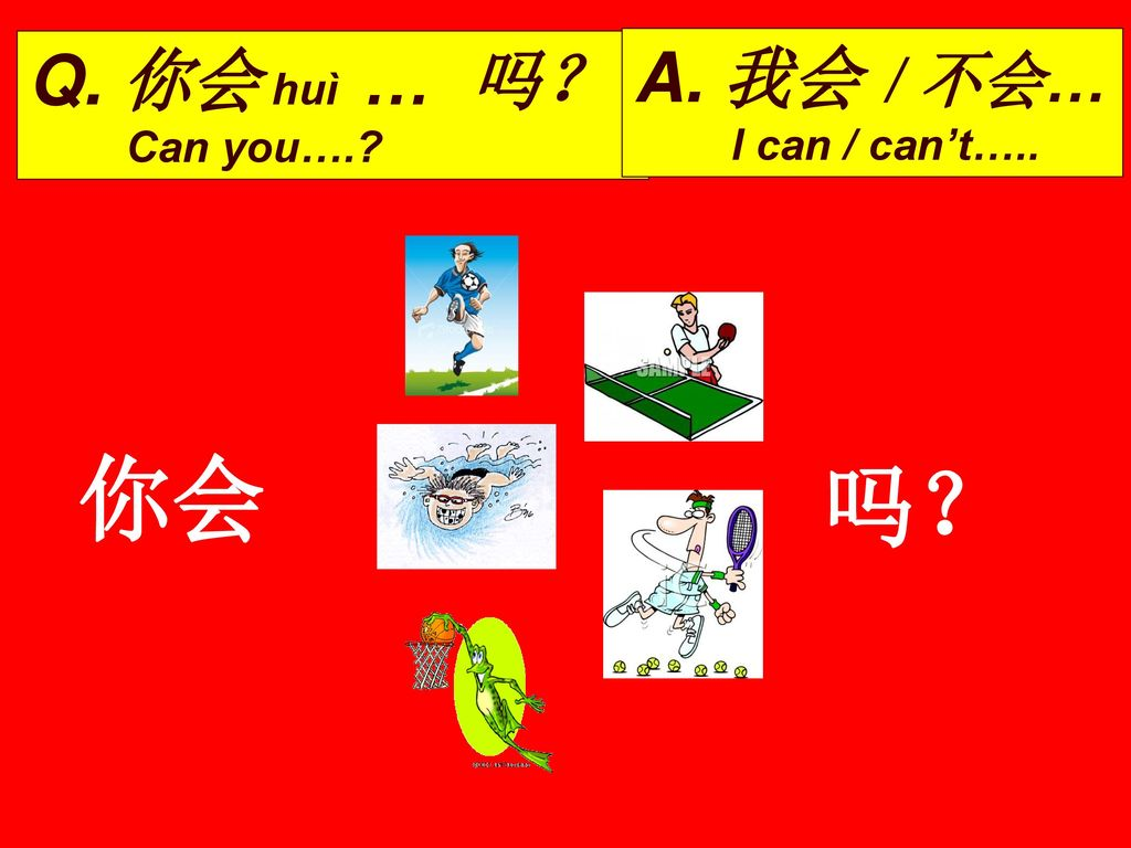 Q. 你会 huì … 吗? Can you…. A. 我会 / 不会… I can / can't….. 你会 吗?