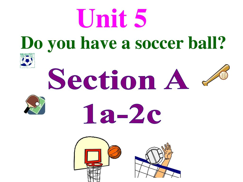 Unit 5 Do you have a soccer ball Section A 1a-2c