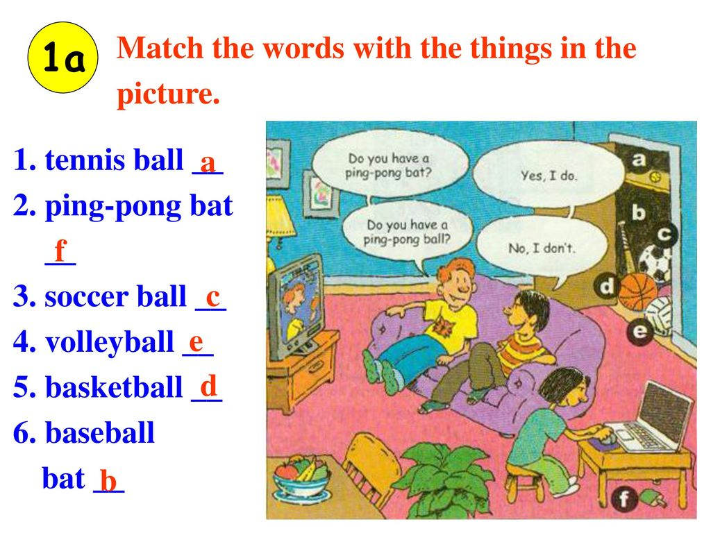 1a Match the words with the things in the picture. 1. tennis ball __ a