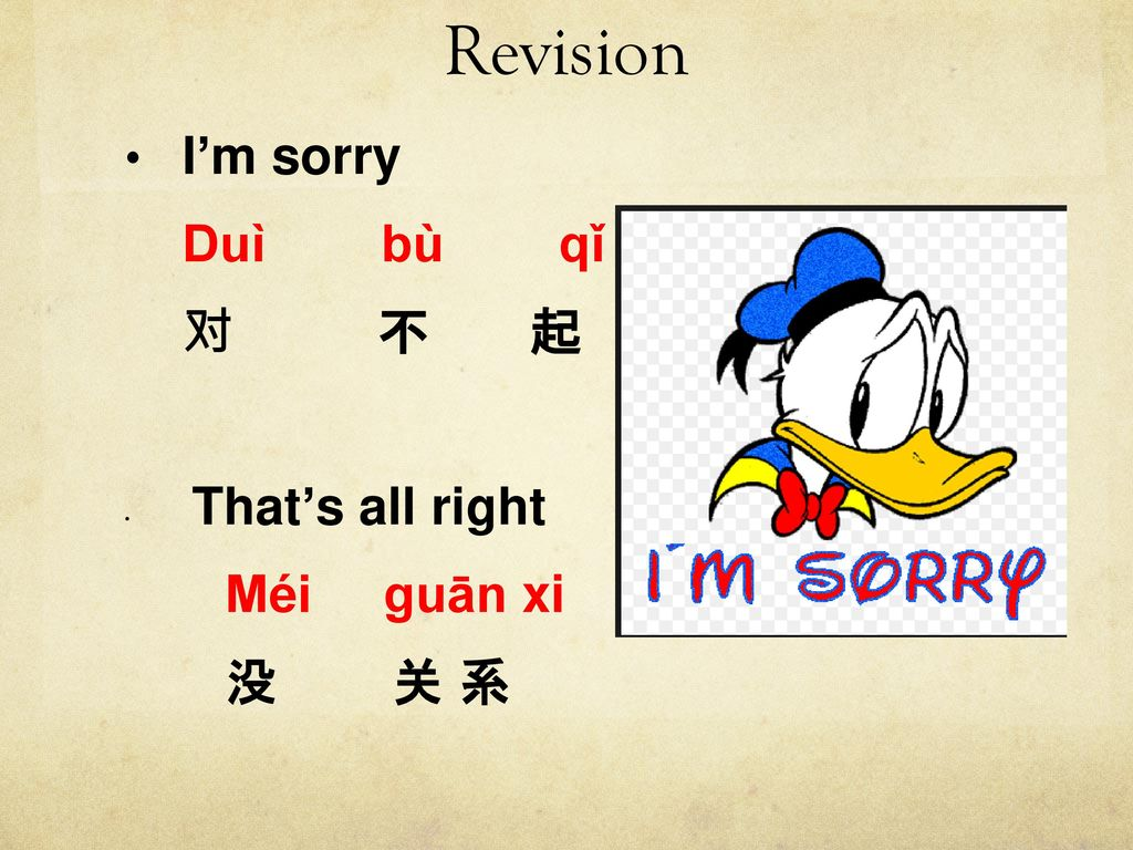 Revision I'm sorry. Duì bù qǐ. 对 不 起. That's all right. Méi guān xi.