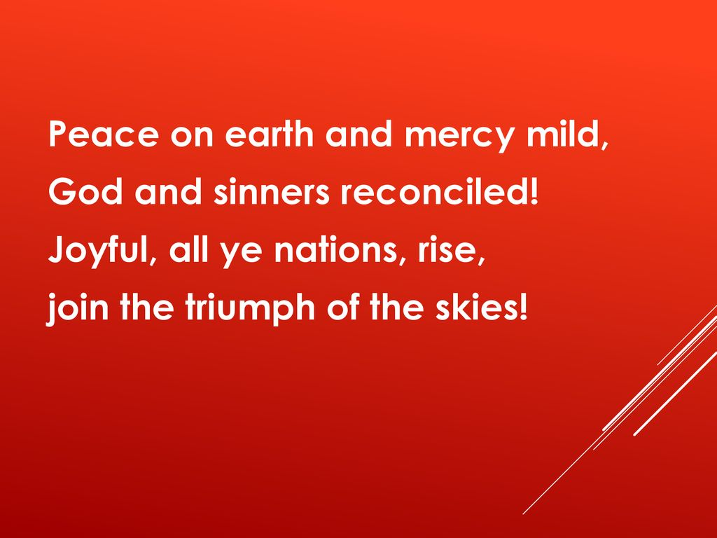 Peace on earth and mercy mild, God and sinners reconciled