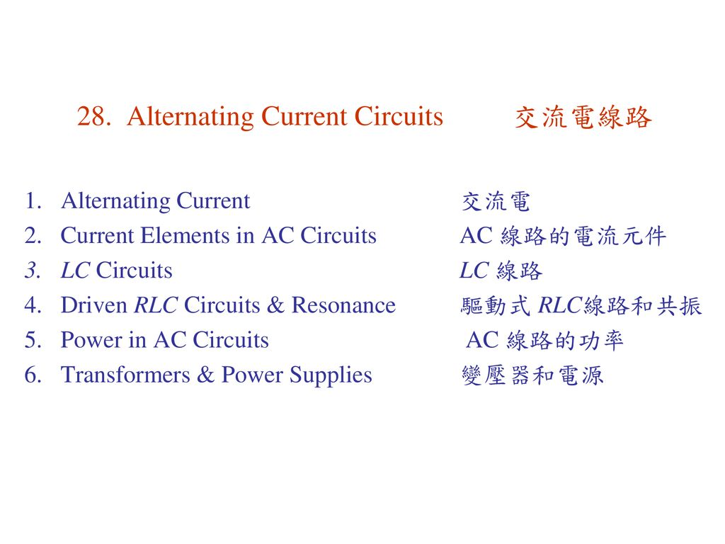 28 Alternating Current Circuits Ppt Download