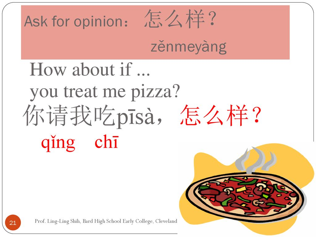 Ask for opinion: 怎么样? zěnmeyàng