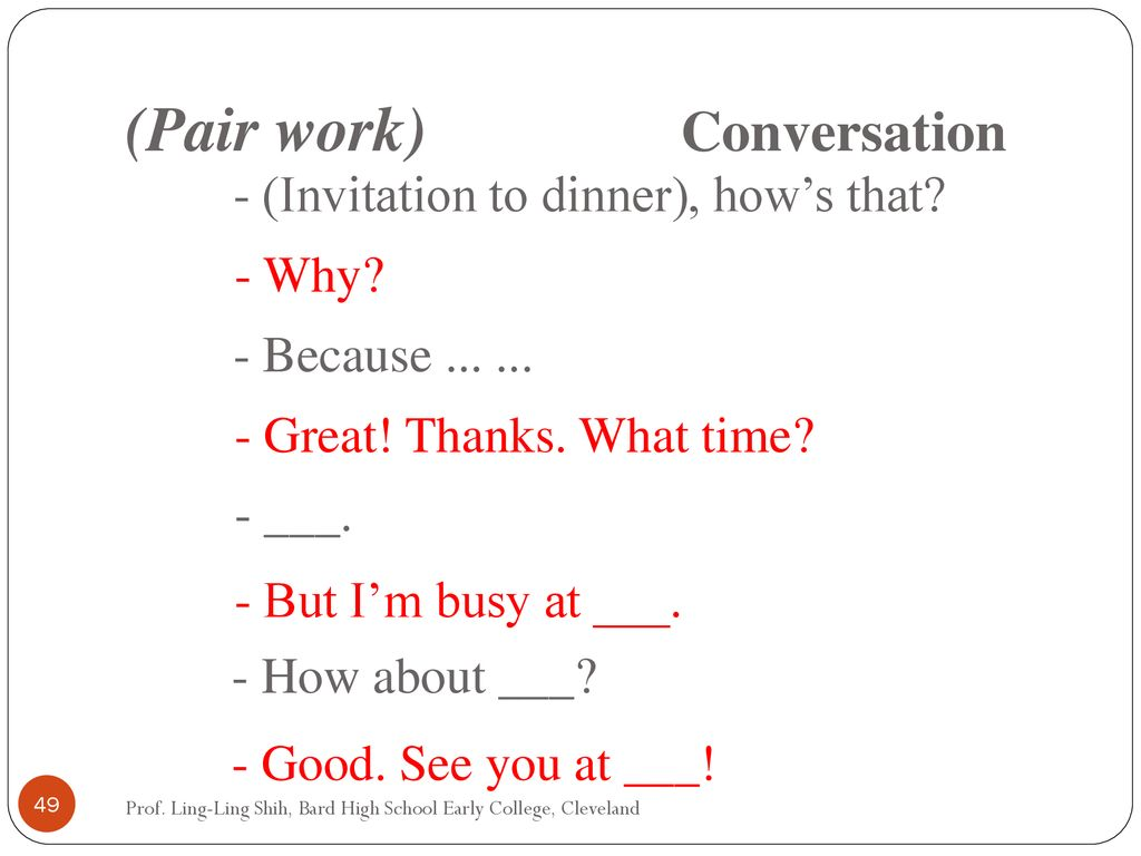 (Pair work) Conversation