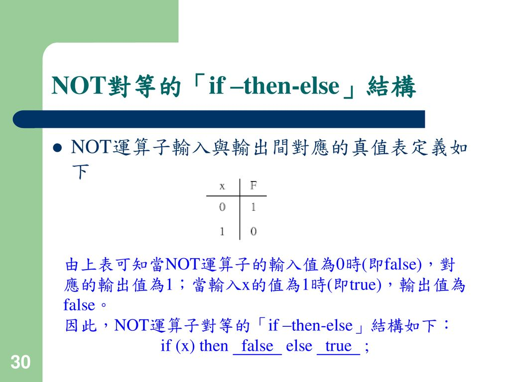 NOT對等的「if –then-else」結構