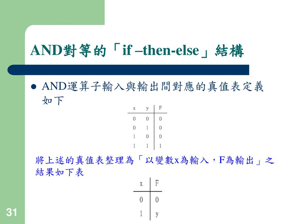 AND對等的「if –then-else」結構