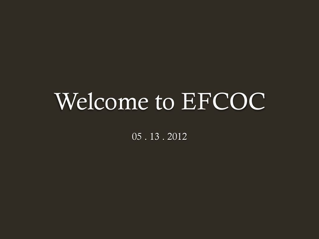 Welcome to EFCOC