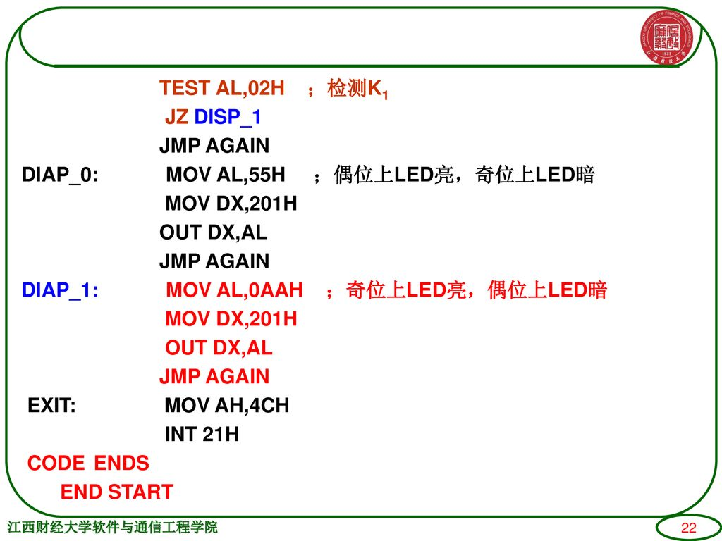 TEST AL,02H ;检测K1 JZ DISP_1 JMP AGAIN DIAP_0: MOV AL,55H ;偶位上LED亮,奇位上LED暗 MOV DX,201H OUT DX,AL DIAP_1: MOV AL,0AAH ;奇位上LED亮,偶位上LED暗 EXIT: MOV AH,4CH INT 21H CODE ENDS END START