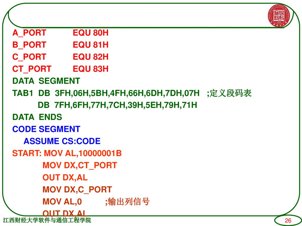 A_PORT EQU 80H B_PORT EQU 81H C_PORT EQU 82H CT_PORT EQU 83H DATA SEGMENT TAB1 DB 3FH,06H,5BH,4FH,66H,6DH,7DH,07H ;定义段码表 DB 7FH,6FH,77H,7CH,39H,5EH,79H,71H DATA ENDS CODE SEGMENT ASSUME CS:CODE START: MOV AL, B MOV DX,CT_PORT OUT DX,AL MOV DX,C_PORT MOV AL,0 ;输出列信号