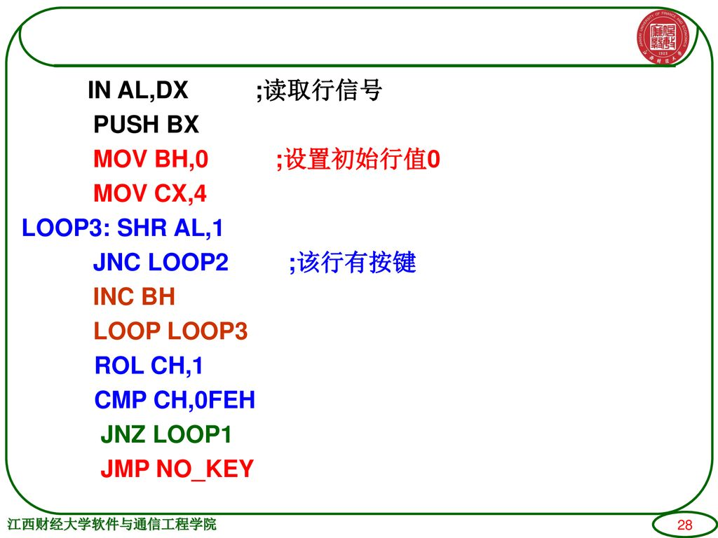 IN AL,DX ;读取行信号 PUSH BX MOV BH,0 ;设置初始行值0 MOV CX,4 LOOP3: SHR AL,1 JNC LOOP2 ;该行有按键 INC BH LOOP LOOP3 ROL CH,1 CMP CH,0FEH JNZ LOOP1 JMP NO_KEY