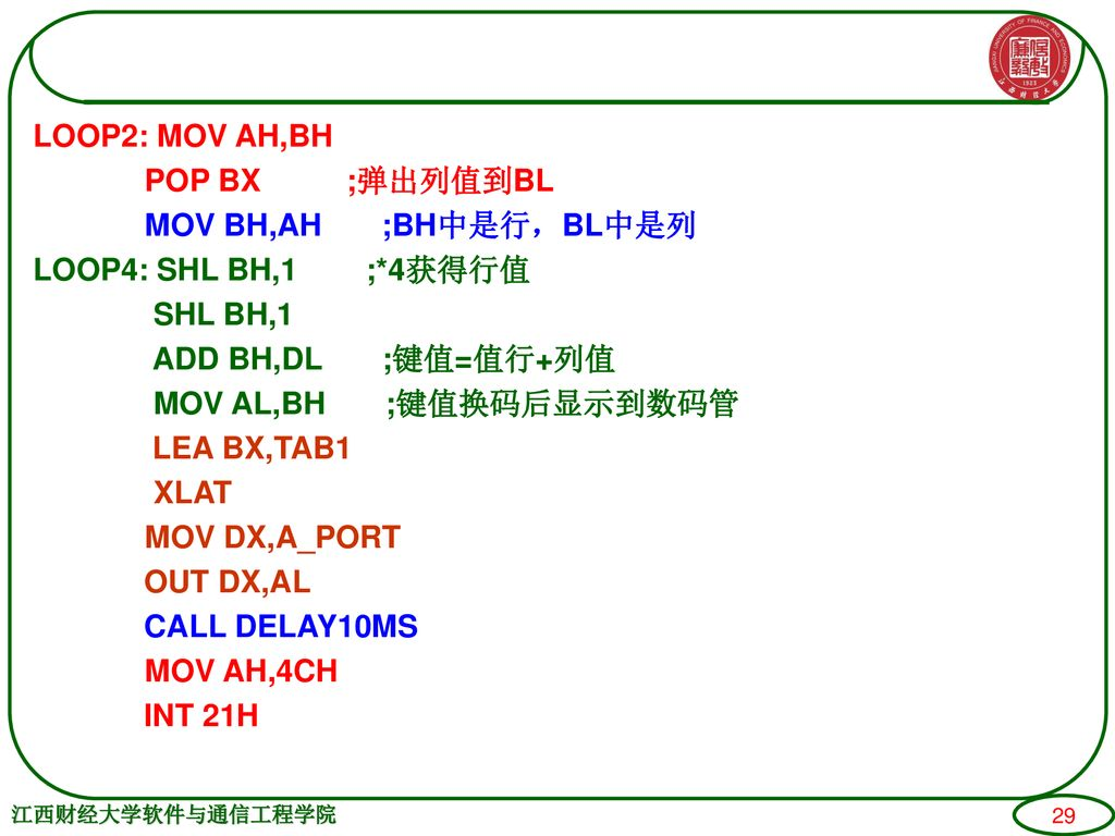 LOOP2: MOV AH,BH POP BX ;弹出列值到BL MOV BH,AH ;BH中是行,BL中是列 LOOP4: SHL BH,1 ;*4获得行值 SHL BH,1 ADD BH,DL ;键值=值行+列值 MOV AL,BH ;键值换码后显示到数码管 LEA BX,TAB1 XLAT MOV DX,A_PORT OUT DX,AL CALL DELAY10MS MOV AH,4CH INT 21H