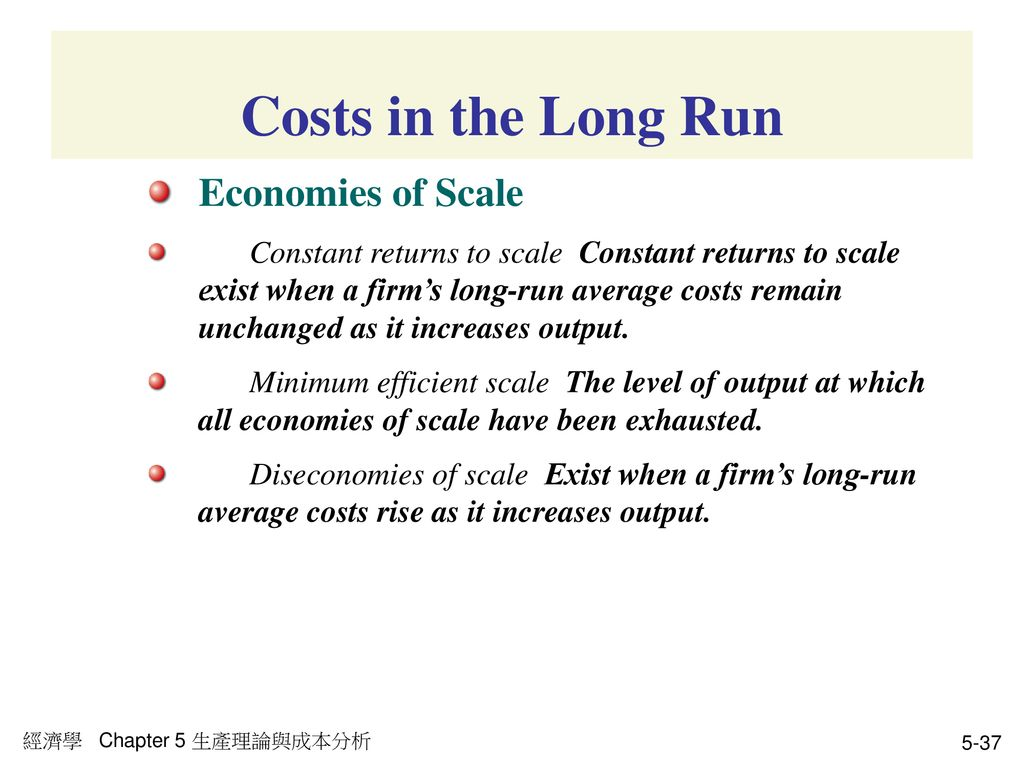 Costs in the Long Run Economies of Scale