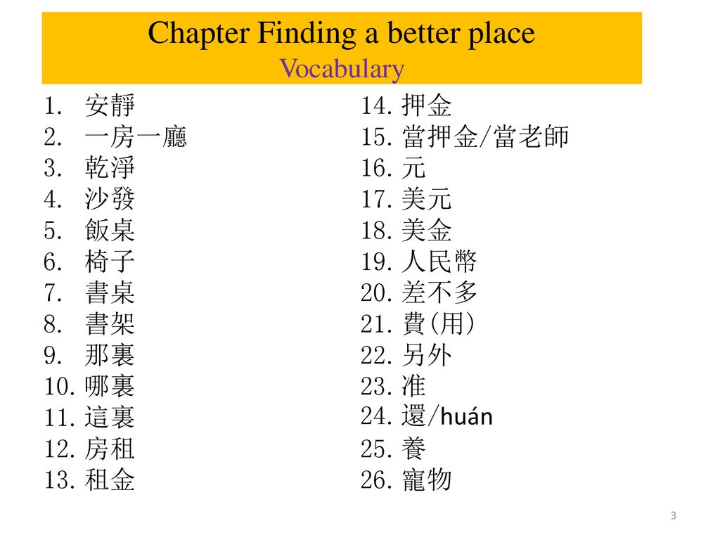 Chapter Finding a better place Vocabulary