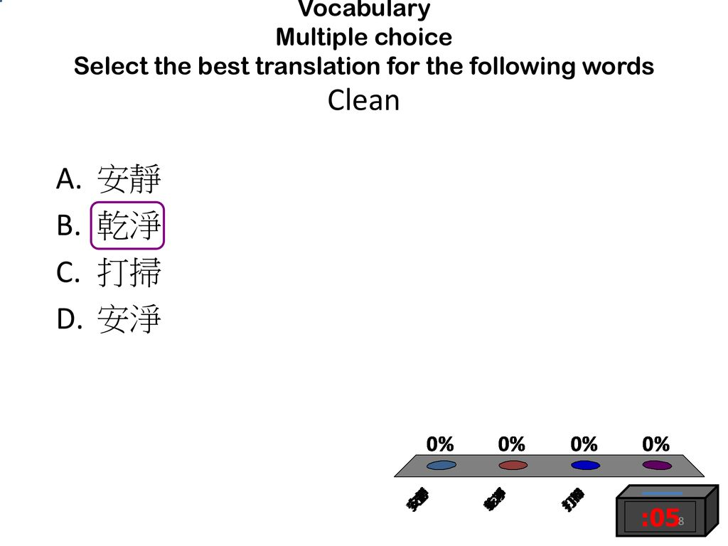 Vocabulary Multiple choice Select the best translation for the following words Clean