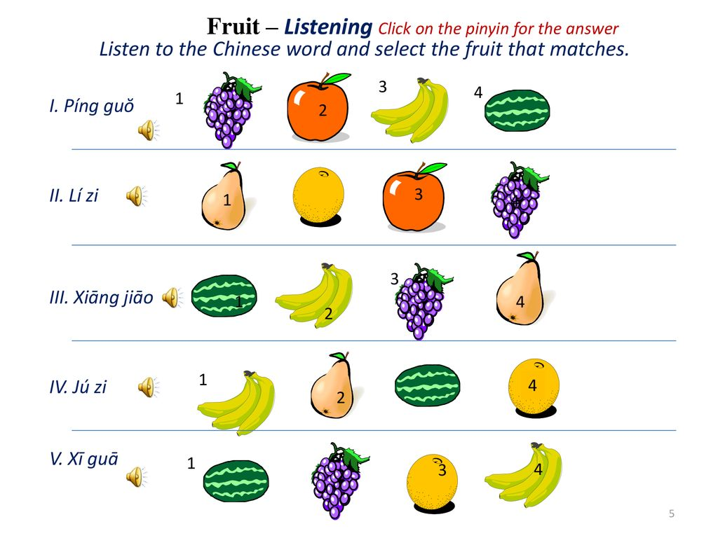 Fruit – Listening Click on the pinyin for the answer Listen to the Chinese word and select the fruit that matches.