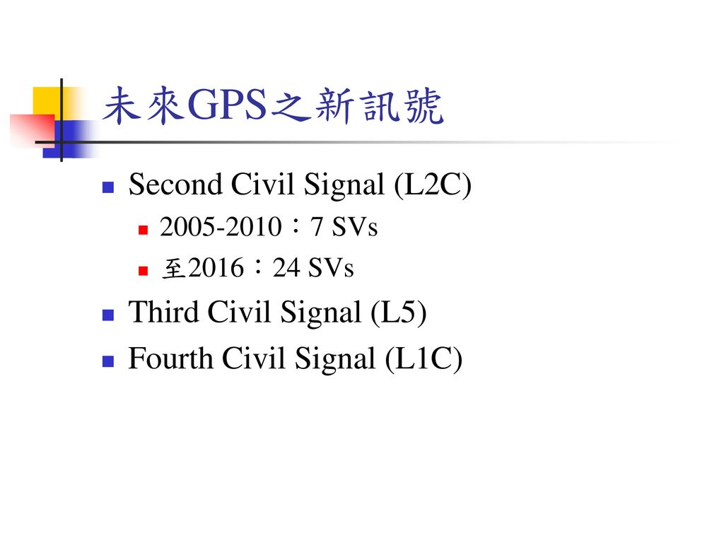 未來GPS之新訊號 Second Civil Signal (L2C) Third Civil Signal (L5)