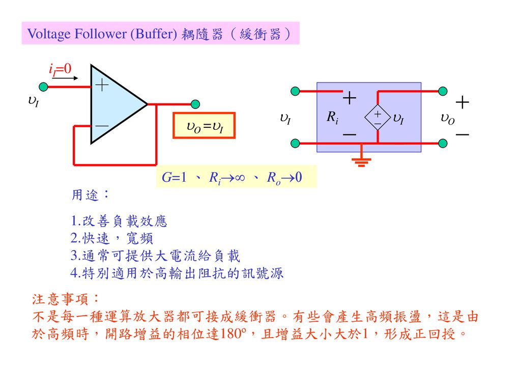 Voltage Follower (Buffer) 耦隨器(緩衝器)