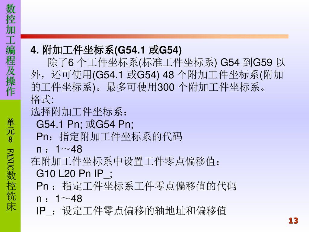 单元8 数控铣削加工FANUC0i-MB 数控加工编程及操作8 1 常用G代码